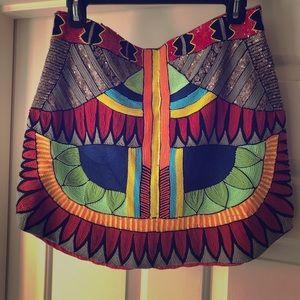 NWT. PIA PAURO beaded mini skirt.Hand Embroidered.